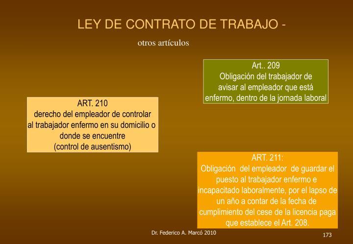 LEY DE CONTRATO DE TRABAJO -