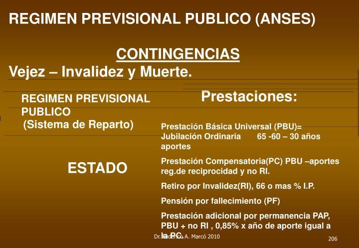 REGIMEN PREVISIONAL PUBLICO (ANSES)