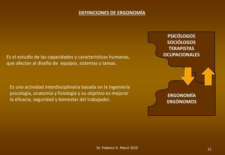 DEFINICIONES DE ERGONOMÍA