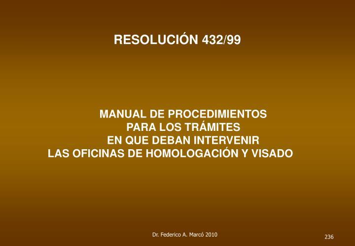 RESOLUCIÓN 432/99