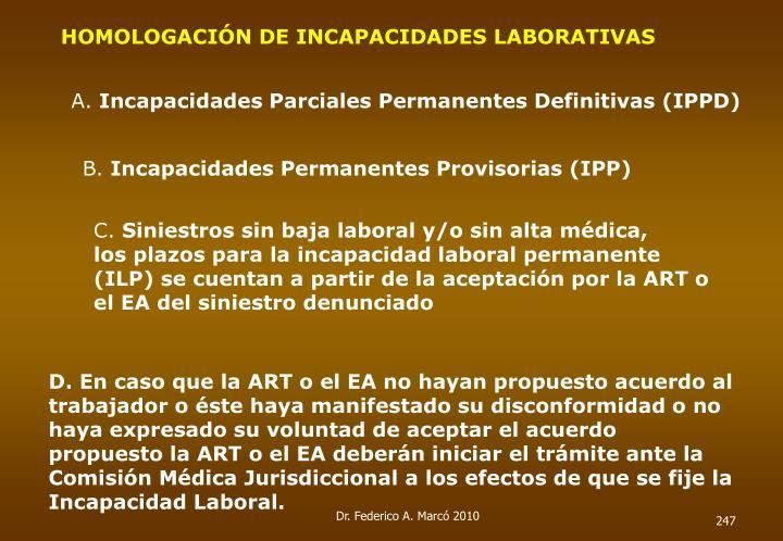 HOMOLOGACIÓN DE INCAPACIDADES LABORATIVAS