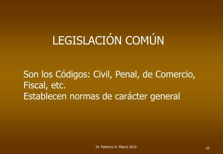 LEGISLACIÓN COMÚN