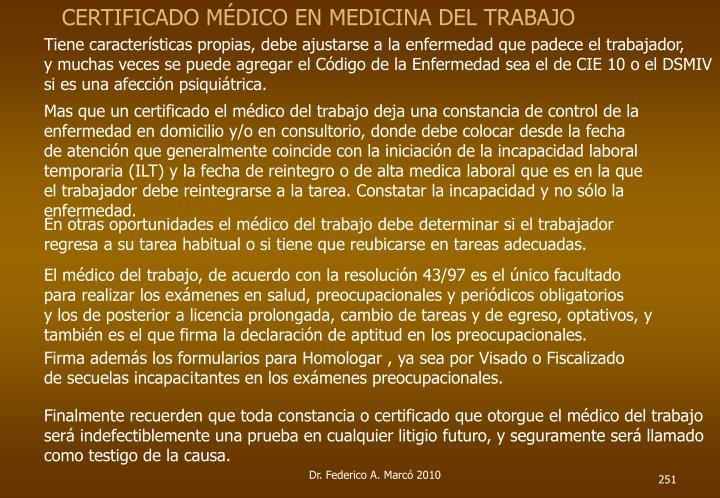 CERTIFICADO MÉDICO EN MEDICINA DEL TRABAJO
