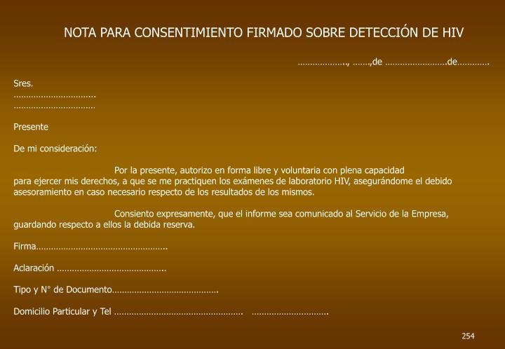 NOTA PARA CONSENTIMIENTO FIRMADO SOBRE DETECCIÓN DE HIV