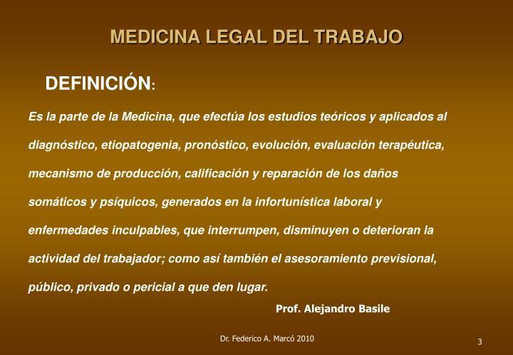 MEDICINA LEGAL DEL TRABAJO