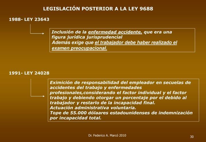 LEGISLACIÓN POSTERIOR A LA LEY 9688