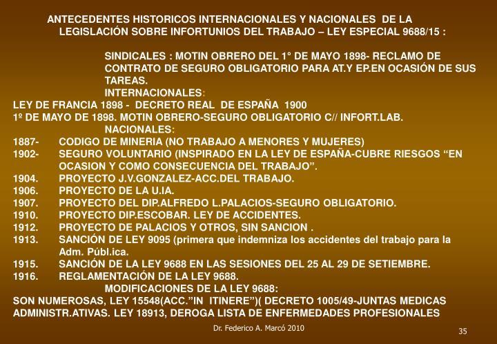 ANTECEDENTES HISTORICOS INTERNACIONALES Y NACIONALES  DE LA