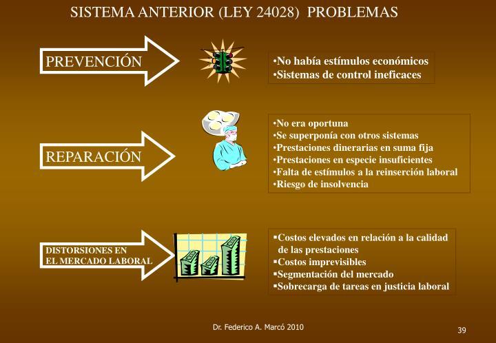 SISTEMA ANTERIOR (LEY 24028)  PROBLEMAS