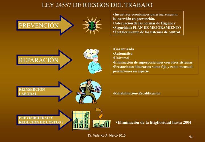 LEY 24557 DE RIESGOS DEL TRABAJO