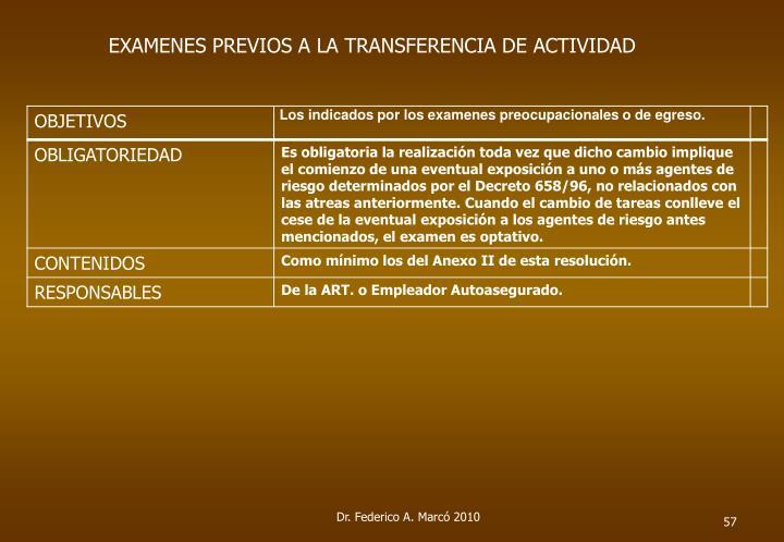 EXAMENES PREVIOS A LA TRANSFERENCIA DE ACTIVIDAD