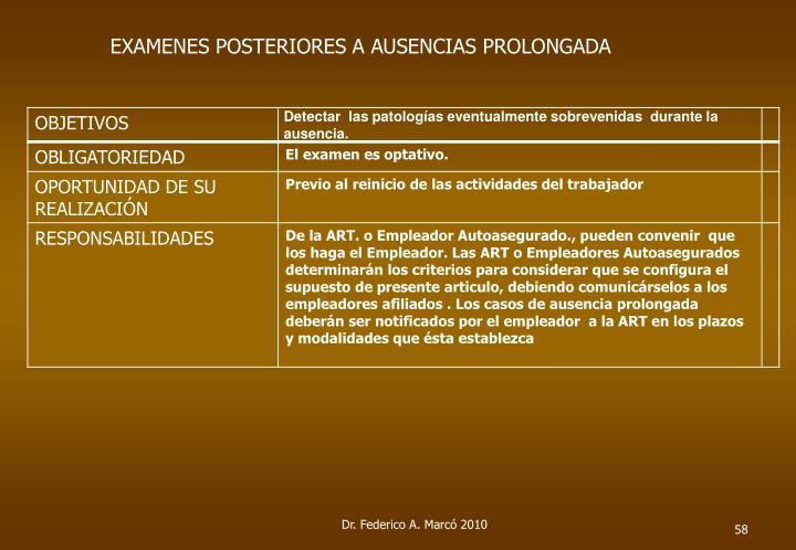 EXAMENES POSTERIORES A AUSENCIAS PROLONGADA