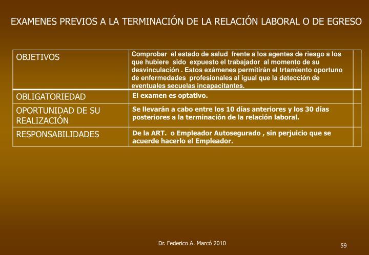 EXAMENES PREVIOS A LA TERMINACIÓN DE LA RELACIÓN LABORAL O DE EGRESO