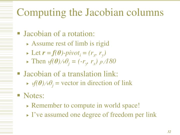 Computing the Jacobian columns
