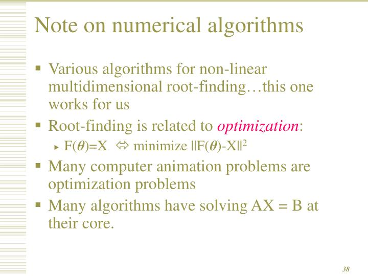 Note on numerical algorithms