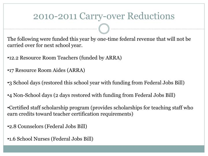 2010-2011 Carry-over Reductions