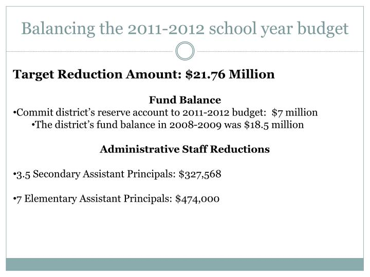 Balancing the 2011-2012 school year budget