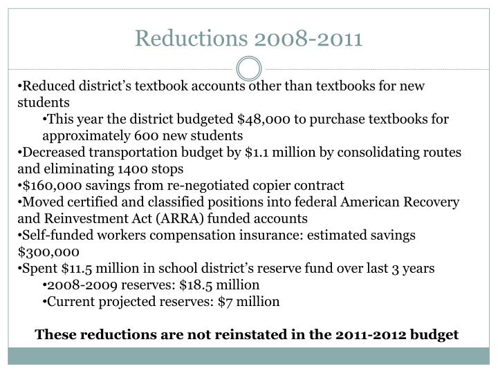 Reductions 2008-2011