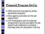 proposed program set up