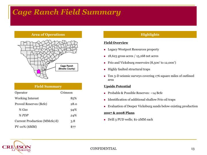 Cage Ranch Field Summary