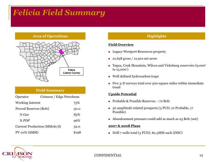 Felicia Field Summary