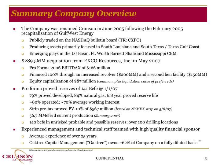 Summary company overview