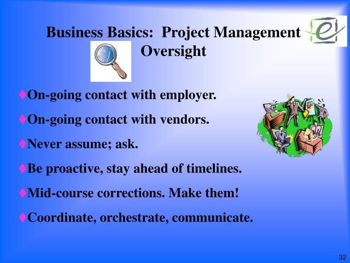 Business Basics:  Project Management