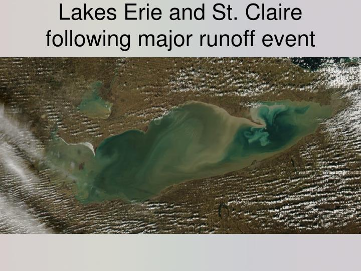 Lakes Erie and St. Claire following major runoff event
