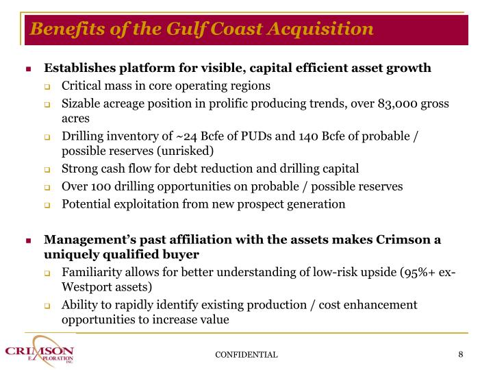 Benefits of the Gulf Coast Acquisition