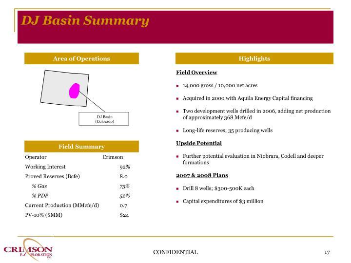 DJ Basin Summary