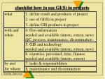 checklist how to use gi s in projects