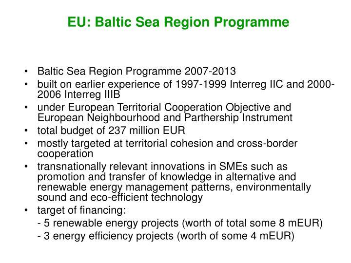 EU: Baltic Sea Region Programme