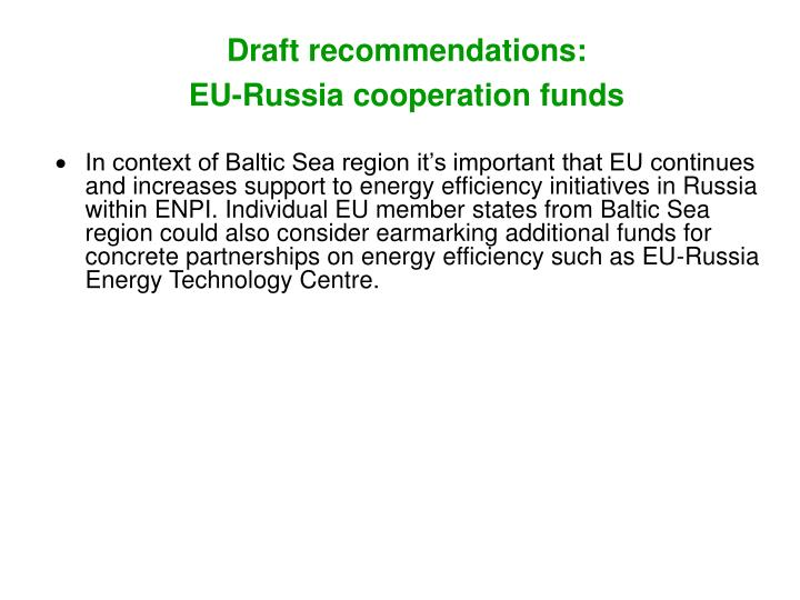 Draft recommendations: