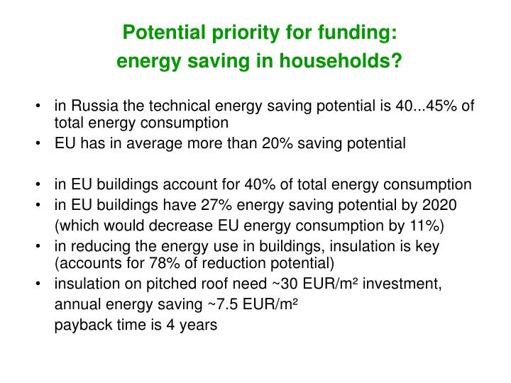 Potential priority for funding:
