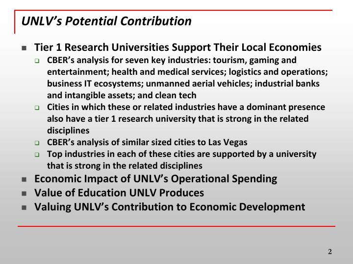 Unlv s potential contribution