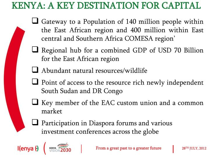 KENYA: A KEY DESTINATION FOR CAPITAL