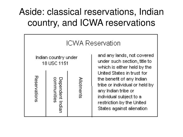 Aside: classical reservations, Indian country, and ICWA reservations