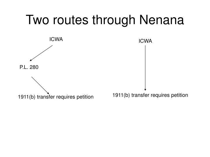 Two routes through Nenana