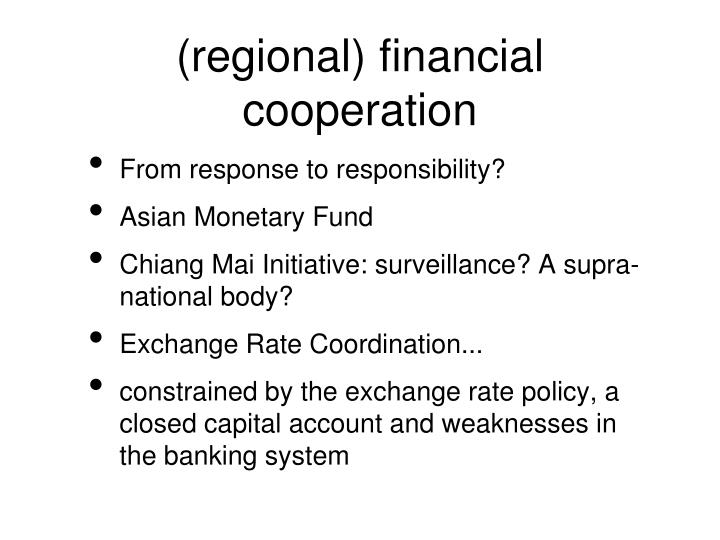 (regional) financial cooperation