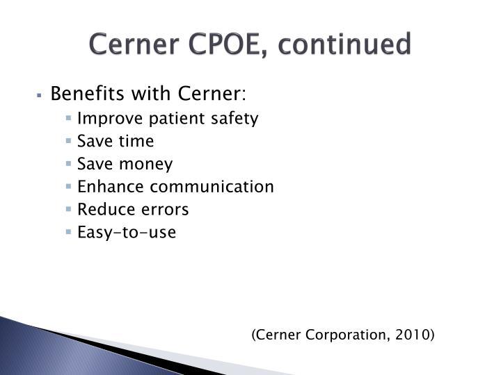 Cerner CPOE, continued