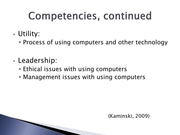 Competencies, continued