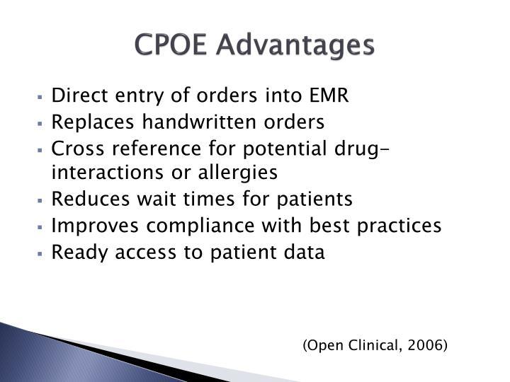 CPOE Advantages
