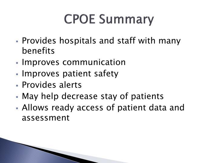 CPOE Summary