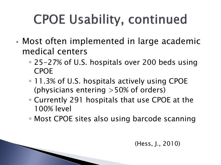 CPOE Usability, continued