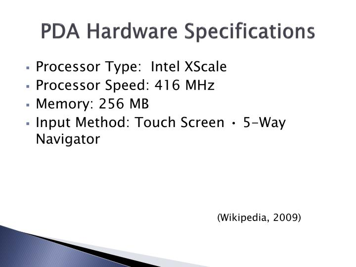 PDA Hardware Specifications