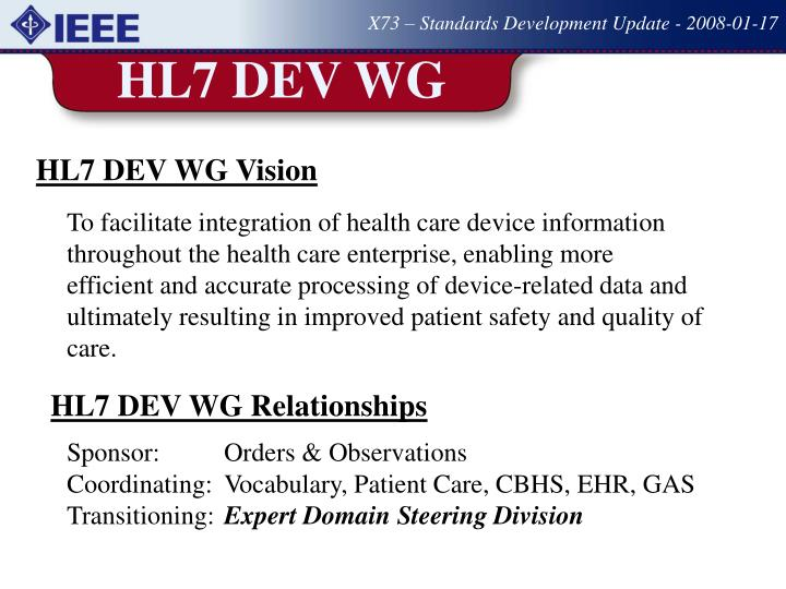 X73 – Standards Development Update - 2008-01-17
