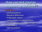 how can bid rigging schemes be detected