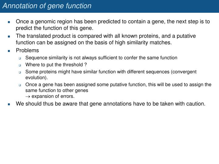 Annotation of gene function