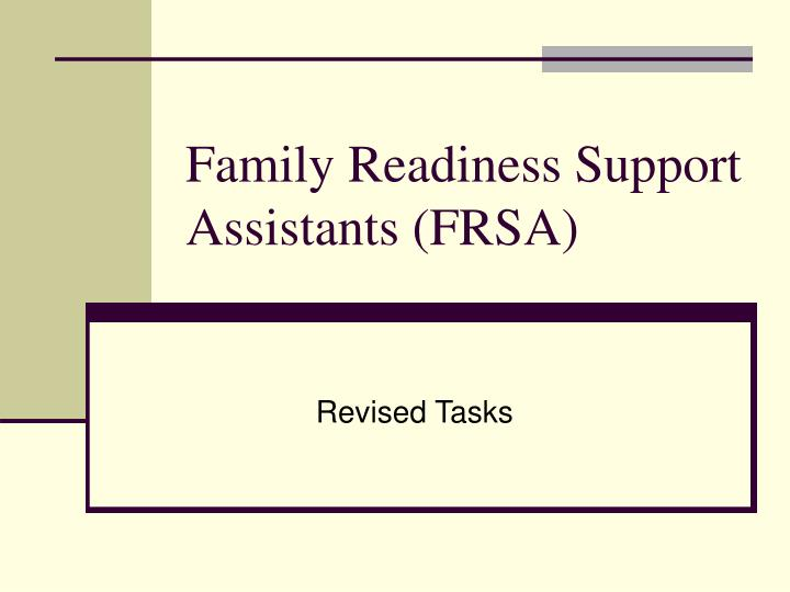 Family readiness support assistants frsa