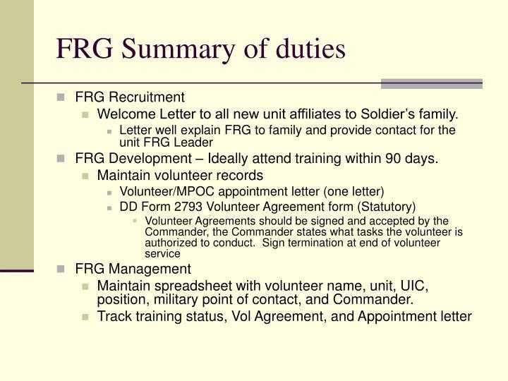 FRG Summary of duties