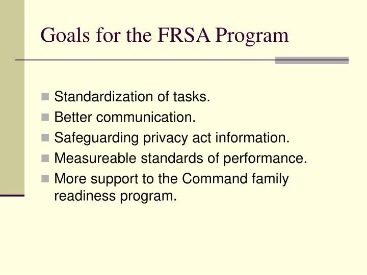 Goals for the frsa program